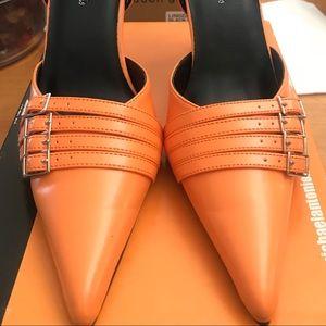Orange pointed toe heels